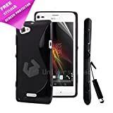 BLACK S LINE GEL SILICONE RUBBER CASE COVER SONY ERICSSON XPERIA L + SCREEN PROTECTOR + STYLUS PEN