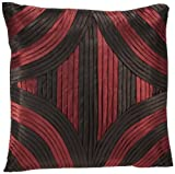 Shahenaz Home Shop Kyrah Diamond Saga Poly Dupion Cushion Cover - Red and Brown