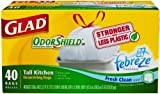 Glad Tall Kitchen Drawstring Fresh Clean Scent OdorShield Garbage Bags, 13 Gallon, 40 Count