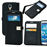 Case for Galaxy S4,By Ailun, Wallet Case,PU Leather Case,Cut,Credit Card Holder,Flip Cover Skin,(Black)