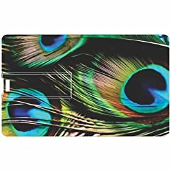 Printland Peacock Feathers PC80361 Credit Card Shape 8GB Pen Drive