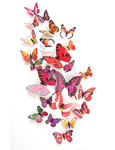 12 Set Pvc 3D Butterfly Decal Wall Stickers Kids Room Decor Decoration Sticker (Red)