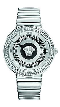 Versace Women's VLC070014 V-METAL ICON Analog Display Swiss Quartz Silver Watch