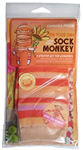 Monkey Sock Monkey Orange Soft Sock Monkey Kit, Finnoola Peach (Does Not Include Stuffing)