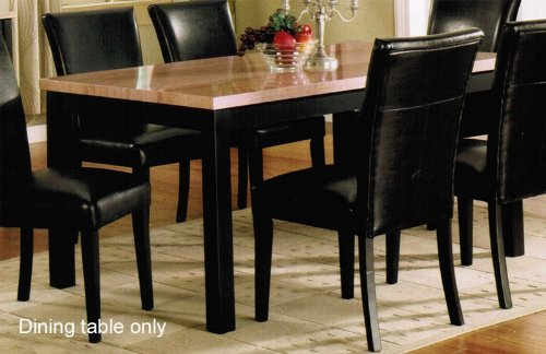 Dining Table With Ivory Faux Marble Top In Black Finish