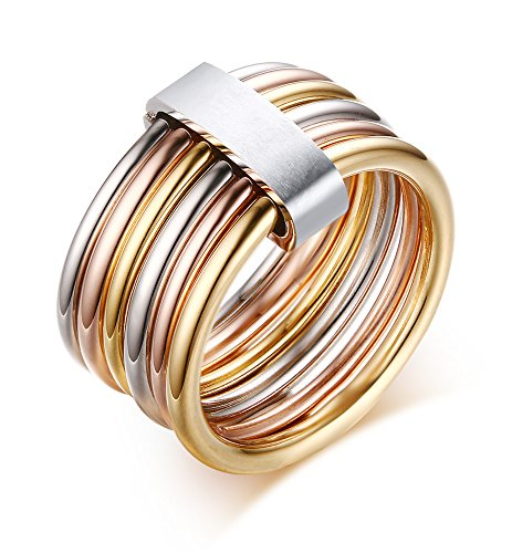 Stainless Steel Wrap Ring for Women Wedding Promise Engagement,Tri-Color,Gold,Silver,Rose,Size 7 (Rose Tone Stainless Steel Rings compare prices)