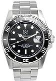 [HYAKUICHI 101] ダイバーズウォッチ 自動巻き(手巻付き) オートマチック 機械式 日付表示 200m防水 逆回転防止ベゼル 腕時計 ブラック メンズ