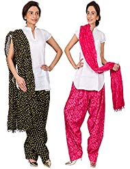 Womens Cottage Combo Pack Of 2 Printed Cotton Semi Patiala & Cotton Dupatta With Lace Set - B01G1GJN8Q