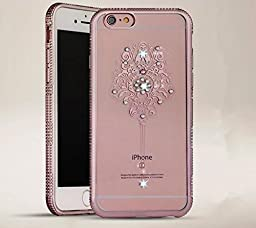 iPhone 6 Plus Case,Inspirationc Bling Rhinestone Clear Rubber Plating Frame TPU Soft Silicone Bumper Case Cover for iPhone 6 Plus/6S Plus 5.5 Inch--YUZAN Rose Gold