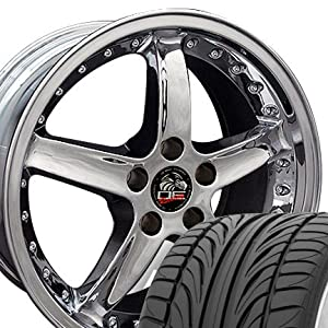 Cobra R Deep Dish Style Wheels and Tires with Rivets Fits Mustang (R) - Chrome 20x8.5 Set of 4