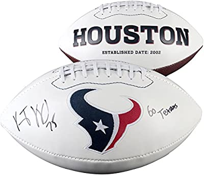 Vince Wilfork Houston Texans Autographed White Panel Football with Go Texans Inscription - Fanatics Authentic Certified