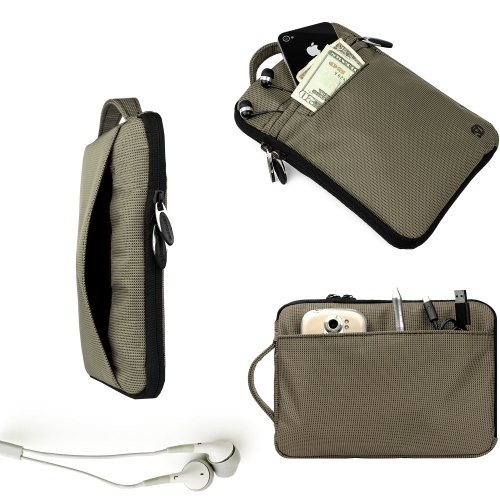 Vangoddy Slate Hydei Padded Carrying Case For The Visual Land Connect + Gray Noise Cancelling Visual Land Connect Compatible Ear Bud