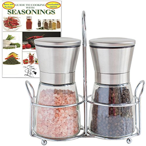 The Fine Life Ideal Salt and Pepper Mill Set Spice Grinders - Short Pair w/ matching Stand Bonus FREE ebook: Cooking w/ Seasonings - Adjustable Manual Ceramic Grinder, Stainless Steel+Glass - 5 inches (Sea Life Knobs compare prices)