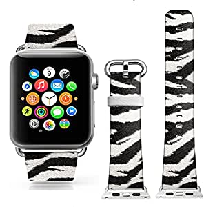 Apple Watch Band, Dseason(TM) 42mm iWatch[100% Genuine Leather]Replacement Watch Strap Wrist Band with Metal Clasp for Apple Watch & Sport & Edition (42mm Leather - Zebra fur pattern)