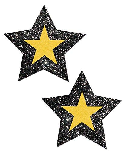Pittsburgh Football Rockstar: Black Glitter & Yellow Nipple Pasties By Pastease