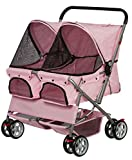 OxGord Double Pink Pet Stroller
