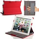MoKo Slim-Fit Folio Stand Case for Apple New iPad 4 & 3 (3rd and 4th Generation with Retina Display) / IPad 2, RED