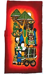 Small African Batik Painting - African Market 10\