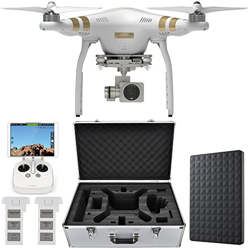 DJI Phantom 3 Quadcopter Drone w/ 4K Camera + 3-Axis Gimbal Hard Drive Bundle includes Drone, Hardshell Carrying Case, Spare Intelligent Flight Battery and Seagate 2TB Portable External Hard Drive