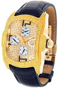 Mens Aqua Master Gold Tone Genuine Diamond Watch Black Leather Band #W63-1