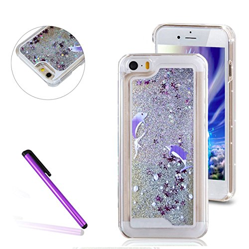 iPhone 5C Case,3D Liquid Brilliant Luxury Bling Glitter Liquid Floating Angle Girl Moving Hard Protective Case for Apple iPhone 5C (Two Dolphins) (Iphone 5c Protective Glitter Case compare prices)