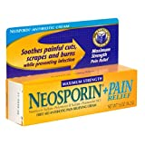 Neosporin Plus Pain Relief First Aid Antibiotic/Pain Relieving Cream, Maximum Strength 0.5-Ounce Tubes (Pack of 4)