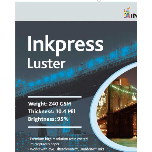 Inkpress Luster Resin Coated Inkjet Photo Paper, Single Sided, 240gsm, 10.4mil, 95% Bright, 16x20