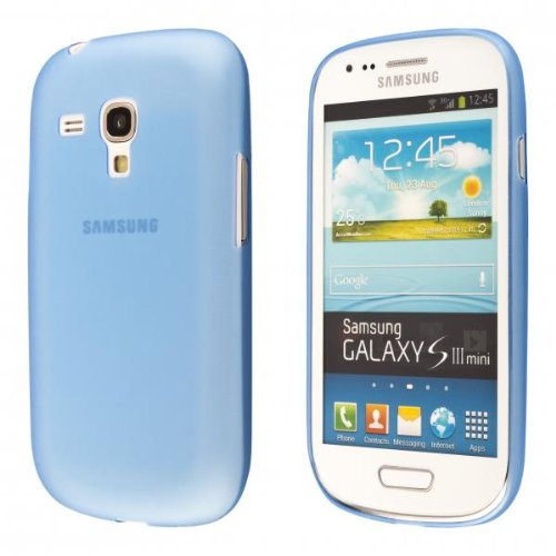 ECENCE Samsung Galaxy S3 mini i8190 case schutz hülle handy tasche dünn flach leicht cover schale blau 24040301