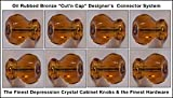 8 Pack of 1920's Finest Hexagonal Depression Glass Cabinet Knobs, Oil Rubbed Bronze Cut'n Cap Installation System Medium size 1-1/4 X 1-1/4 inch at the widest point (RICH AMBER)