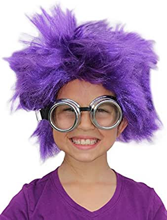 Amazon.com: Afro Wig Purple Minion Costume Purple Minion ...