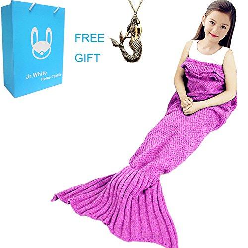 Find Bargain Mermaid Tail Blanket for Kids ,Hand Crochet Snuggle Mermaid,All Seasons Seatail Sleepin...