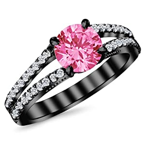 1.4 Carat 14K Black Gold Classic Double Row Pave Set Split Shank Diamond Engagement Ring with a 1 Carat Natural Pink Sapphire Center (Heirloom Quality)
