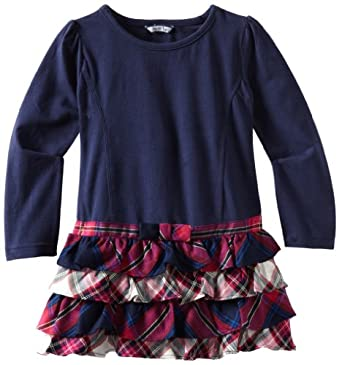 Hartstrings Little Girls' Toddler Jersey and Plaid Dress, Peacoat Navy, 3T