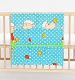 Cot bed TIDY POCKET ORGANISER approx 60x60cm nursery bedding baby toddler pattern sheeps and cloverssky blue