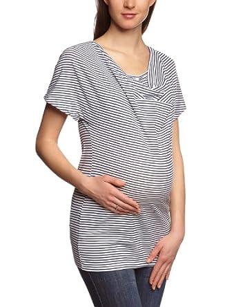 MAMALICIOUS Women 1/2 Sleeve T-Shirt  - White - Weiß (SNOW WHITE/Stripes:Black Iris) - 10