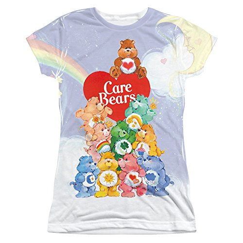 CARE BEARS/PILE UP-S/S JUNIOR POLY CREW-WHITE-2X