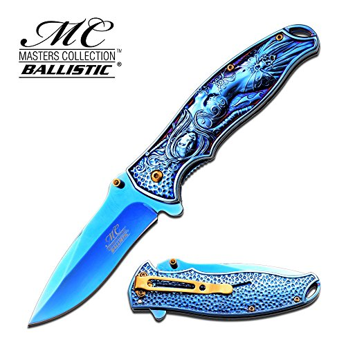 Master Collections Blue Mermaid Fairy Spring Assist Pocket Knife