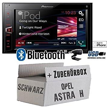 Opel Astra H schwarz - Pioneer MVH-AV280BT - 2DIN USB Bluetooth Touch - Autoradio - Einbauset