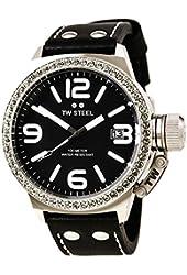 TW Steel Canteen Large Black Leather Strap Swarovski Crystals Watch TW37