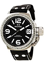 TW Steel Canteen Large Black Leather Strap Swarovski Crystals Watch TW37
