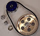 EMPI 00-8651-0 Standard Size Blue Pulley Kit w/ Blue Alternator Pulley Cover - VW Dune Buggy Bug Ghia Thing Bus Trike Baja