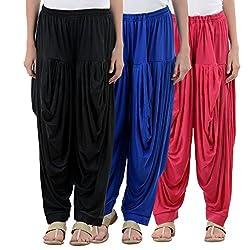 NumBrave Black,Blue,Pink Viscose Dhoti Salwar Combo Of 3