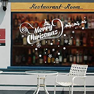 LLLDB Merry Christmas English Letters And Attach To The Wall Paper Holiday Shopping Decorative Glass Window Sticker Bearing Surface Window Grilles Dlx0994 Paper by Christmas decorations LLLDB