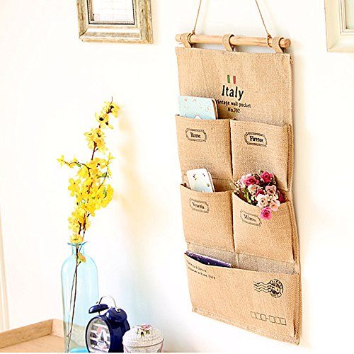 RUIHUI Linen Cotton Fabric Wall Mount/Over Door Cloth Hanging Storage Bag Case With 5 Pocket for Clutch Purses, Handbags, Scarves, Sunglasses and Envelope (Bill Wall Organizer compare prices)