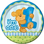 "Charmed Celebrations Bears First Birthday Boys 9"" Plates"