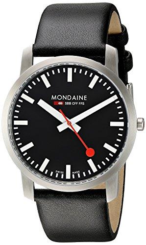 Mondaine Simply A638.30350.14SBB - Reloj analógico de cuarzo para hombre, correa de cuero color negro