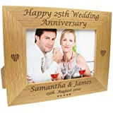 60th Wedding Anniversary Gift, Engraved Oak Wedding Anniversary Photo Frame, Wedding Anniversary Gifts