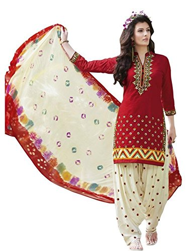 Printed Dress For Women Party Wear New Design Dress Material Unstiched Printed Flower Printed Red Color Salwar...