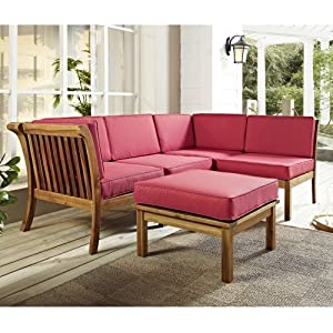 We Furniture Wood Patio Sectional Sofa 8elz