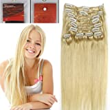 14 inch Full Head Color 613 Light Blonde Clip in Human Hair Extensions. High quality Remy Hair 100g Weight